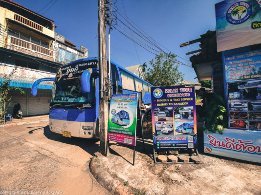 Bus Terminal with the 999 government bus - Koh Chang to Bangkok
