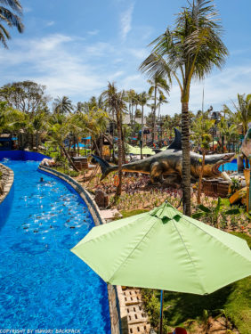 Aquatopia water park_lazy river lost lagoon with floaties and palmtrees