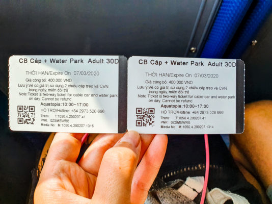 Cable Car Tickets with Waterpark Aquatopia sold at bus