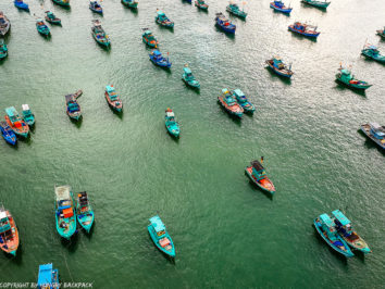 Hon Thom Cable Car Phu Quoc view of fishing boars