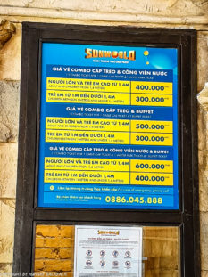 Phu Quoc Cable Car_price list of combi tickets with buffet and waterpark