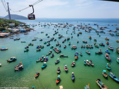 Phu Quoc Cable Car - view from cabin of fishing boats