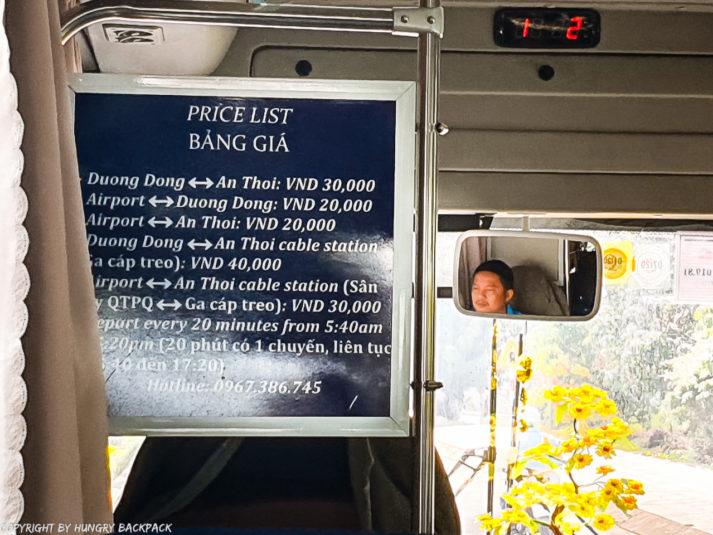 Phu Quoc public bus duong Dong An Thai line 11_price list